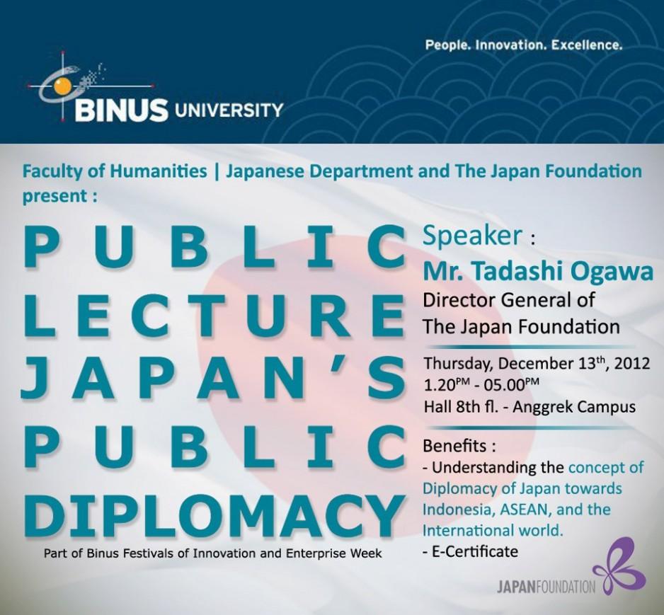 """Public Lecture """"Japan Public Diplomacy"""""""